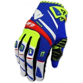 2017 UFO TRACE MOTOCROSS GLOVES - YELLOW BLUE RED