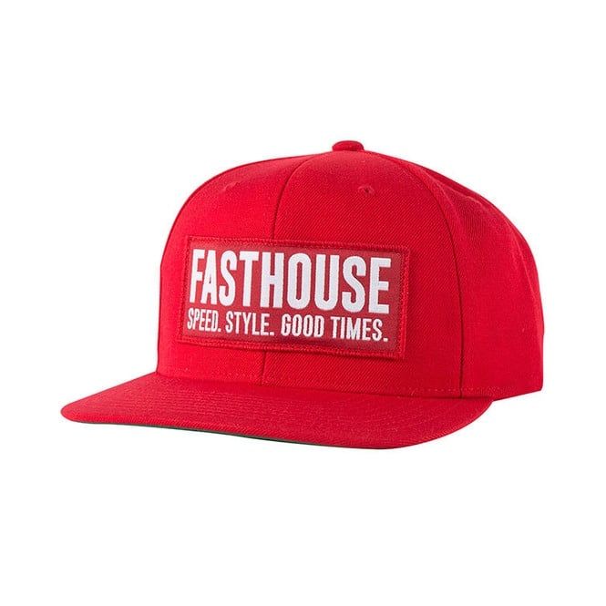 Fasthouse Block House Cap (Red-Red) One Size